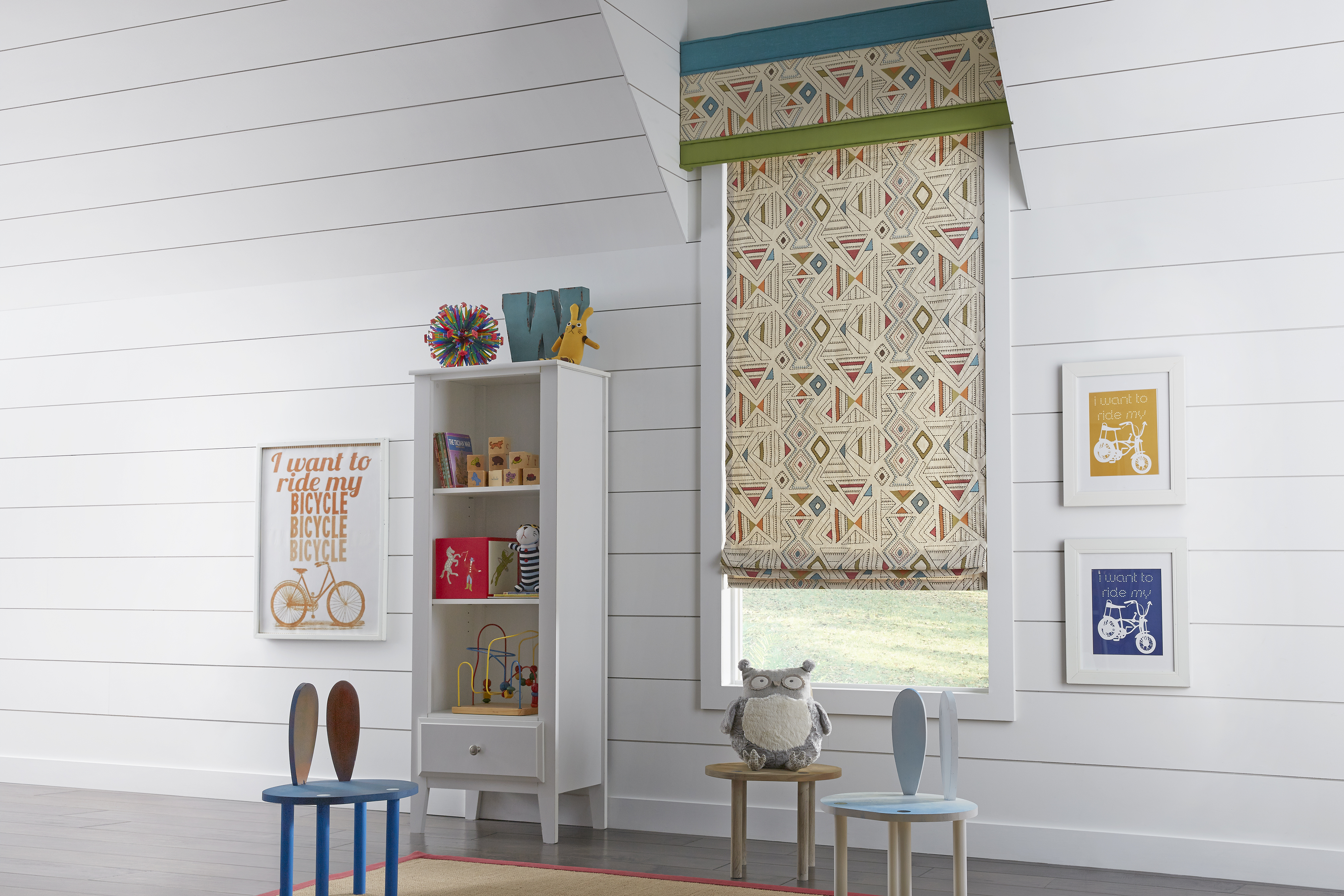 kid safe window treatments in child's playroom